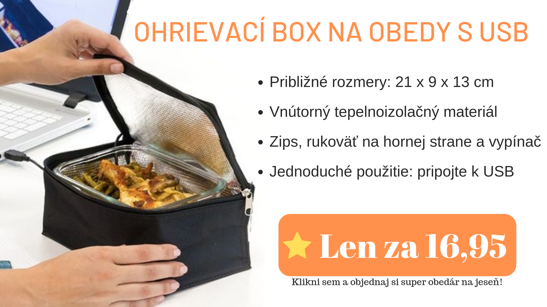 Ohrievací box na obedy s USB